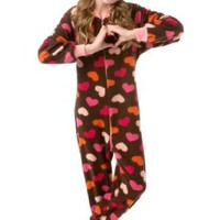 Big Feet Pjs Kids Footed Onesuit Chocolate Brown with Hearts Footed Pajamas