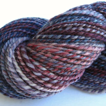 hand spun yarn, handspun yarn, hand dyed yarn, hand painted yarn, BFL bluefaced leicester wool, 2 ply, purple blue yarn, worsted aran weight