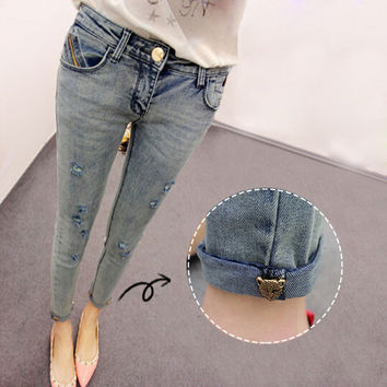 2014 new Korean Slim thin bead washing hole nine points jeans women skinny pencil pants women's jeans