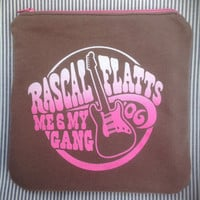 RASCAL FLATTS - Upcycled Rock Band T-shirt Mini Zip Pouch - OoAK