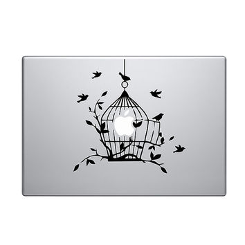 "Birdcage Vinyl Decal / Sticker to fit Macbook Pro 13"" 15"" 17"" - Custom sizes available - love - precision die cut bird cage"