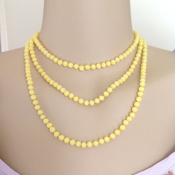 Lemon Yellow Milk Glass Bead Long Necklace Vintage 1930s Necklace Art Deco Flapper Necklace