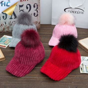 New Women's Spring Hat Thicken Corduroy Snapback Baseball Cap Female Fur Pom Pom Gorro