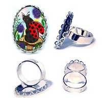 Ladybug Fairy Cat Ring Fantasy Cat Art Ladybug Cat Silver Cameo Cat Ring 25x18mm Gift for Cat Lovers Jewelry