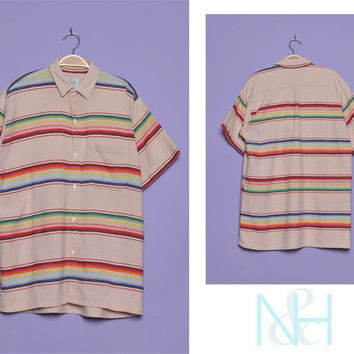 Vintage 1990s Striped Rainbow Boyfriend Shirt with Chest Pockets