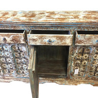 Antique Indian Sideboard Classic Furniture Buffet Cabinet// 3 Drawer 3 Door