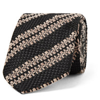 Dries Van Noten - 6cm Striped Wool, Silk and Linen-Blend Tie