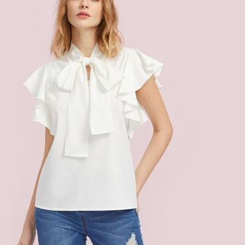 Bow Tie Front Flutter Sleeve Blouse for Women White Cap Sleeve Tie Neck Work Wear Blouse