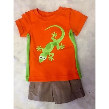 Wally & Willie Spring Orange Boys Gecko Shirt
