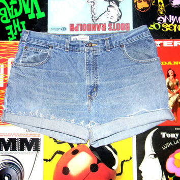 Vintage Denim Cut Offs, 90s High Waisted Stone Washed Faded Glory Brand Jean Shorts, Cut Off, Frayed, Rolled Up PLUS Size 16 Plus Sized XL