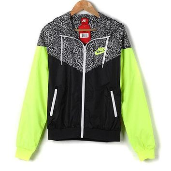 """NIKE"" Stylish Women Men Casual Print Hoodie Zipper Cardigan Sweatshirt Jacket Coat Windbreaker Sportswear Green I"
