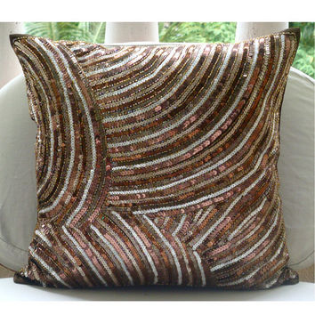 Diva - Throw Pillow Covers - 16x16 Inches Silk Pillow Cover Embellished with Sequins And Beads