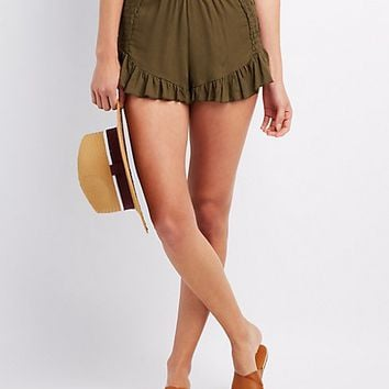 Smocked Ruffle-Trim Shorts