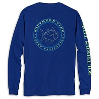 Astro Navigation Long Sleeve Tee Shirt in Blue Cove by Southern Tide