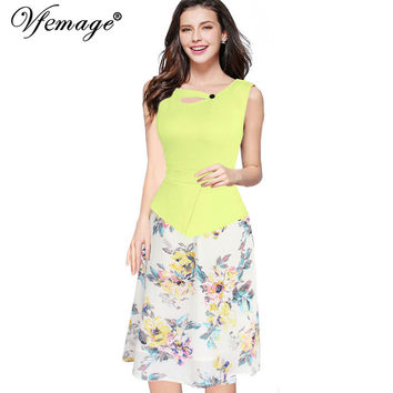 Vfemage Womens 2016 Floral Print Patchwork Button Sleeveless Casual Party Work Bodycon Skater A-Line Summer office Dress 3155