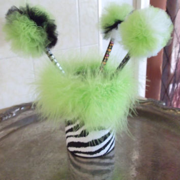 Zebra Print with Lime Green Feather Boa Pencil/Makeup brush/Silverware Holder