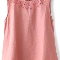 Pink Embroidered Cut-outs Top