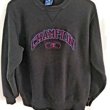 VTG Champion Sweatshirt Large Reverse Weave Embroidered Spell Out USA
