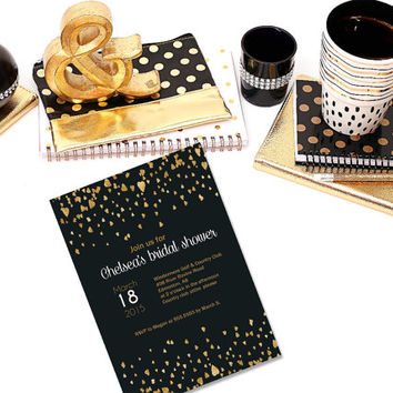 Printable Black and Gold Foil Hearts classy bridal shower Invitation