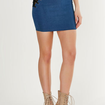 Lace To The Finish Denim Skirt