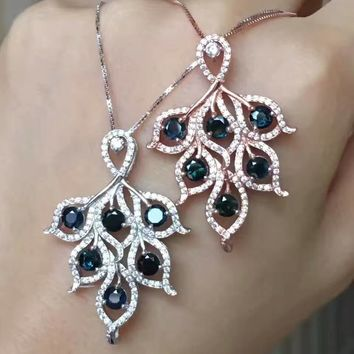 Natural blue sapphire pendant S925 silver Natural gemstone Pendant Necklace trendy Luxury leaves women fine jewelry