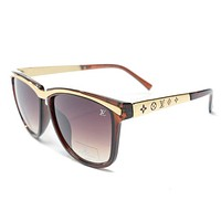 LV Trending Women Men Cool Summer Sun Shades Eyeglasses Glasses Sunglasses Brown I