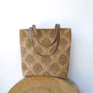 Pattern cork tote bag, beige floral purse, zipper cork leather bag, everyday bag, messanger bag, large cork bag, day bag, leather cork tote