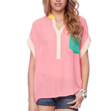 Writer's Color Block Blouse in Pink :: tobi