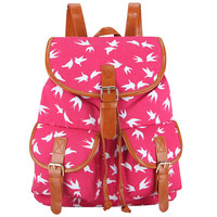 Fashion Handmade Flying Birds Printing Canvas Vintage Bagpack