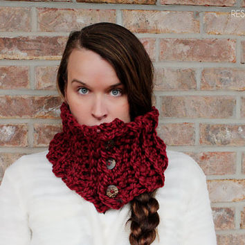 Infinity Scarf - Wine - cowl - chunky - winter cowl - button - fashion - infinity scarf - crochet scarf - cozy - gift