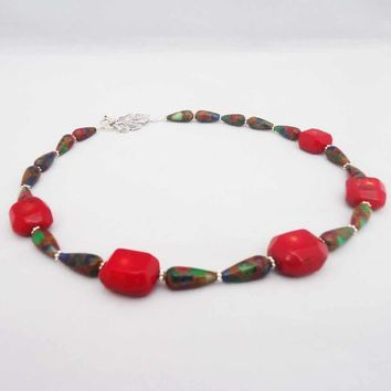 Red Bamboo Coral and Multicolour Gemstone Necklace 364b447a57