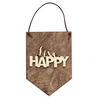 Live Happy . Laser Cut Wood . Wall Hanging Banner . Wall Art . Home Decor . Wood Sign