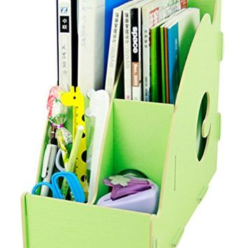 Menu Life Desk Storage Expander File Holder File Folder Organiser File Desk File Storage Box Wooden Magazine Holder Tidy (Light Green)