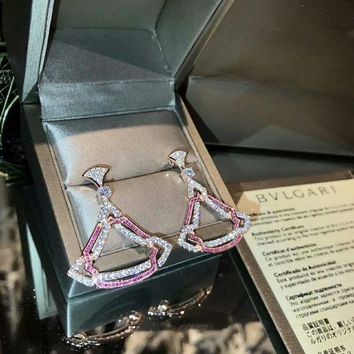 CREY3DS 2018 New Bvlgari pink gemstone colourful brick and stone high-end fashion jewelry S925 Sterling Silver Earring cartilage hoop   stud drop