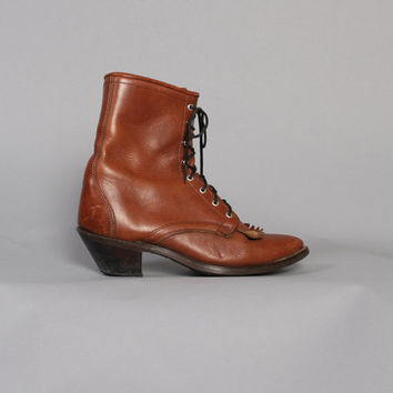 80s BROWN Lace-Up BOOTS / Leather Kiltie Fringe Ropers, 7.5