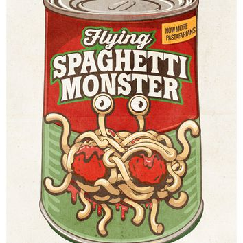 Flying Spaghetti Monster Poster, FSM Wall Art