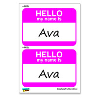 Ava Hello My Name Is - Sheet of 2 Stickers