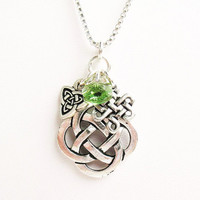 Celtic Knot Necklace - Celtic Quarternary, Triquetra/Trinity and Eternity Knot Charms and Green Crystal - on Sterling Silver Chain