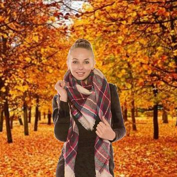 Plaid Blanket Scarf - Tan