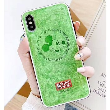 Mickey Mouse Fashion New Letter Mouse Leather Phone Case Protective Case Cover Green