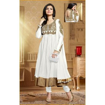 Ayesha Takia Soft Net Machine Work Cream Semi Stitched Long Anarkali Suit - 5010F