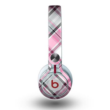 The Black and Pink Layered Plaid V5 Skin for the Beats by Dre Mixr Headphones