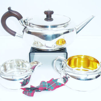 Solid Silver Batchelor Teaset, Sterling, Tea Pot, Sugar Bowl, Cream Jug, English, Vintage, Hallmarked Sheffield 1925, REF:225S