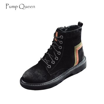 PumpQueen Real Leather Pig Suede Ankle Boots Women Lace Up Patchwork 2018 Autumn Shoes Woman New Classical Female Martin Boots