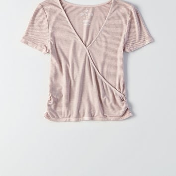 AEO Soft & Sexy Wrap-Front T-Shirt, Light Pink