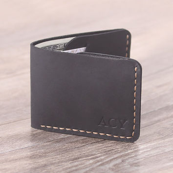 Personalized Men's Leather Wallet - Minimal Wallet- Thin Leather Bifold Wallet - Mens Gift - Father Gift