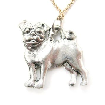 Realistic and Detailed Pug Puppy Dog Shaped Charm Necklace in Silver | MADE IN USA