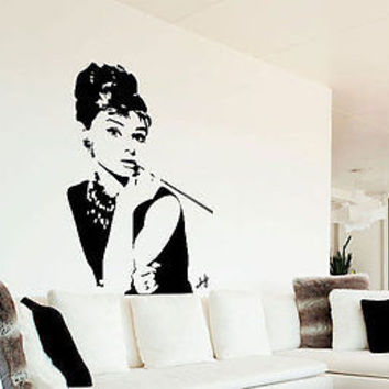 Audrey Hepburn Actress Fashion Decor Wall Decal Art Vinyl Sticker tr687