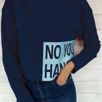 Blue Monogram Print Band Collar Crop Fashion Pullover Sweatshirt