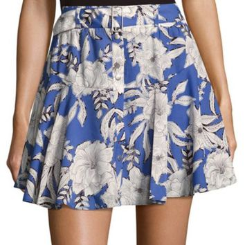 Lovers + Friends - Floral-Print Flared Mini Skirt